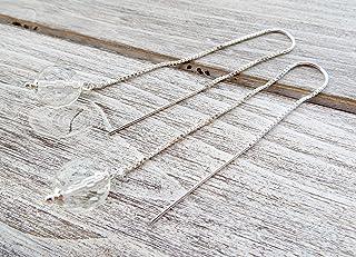 Orecchini in argento 925 e cristallo di rocca trasparente, pendenti lunghi a catenella, gioielli minimalisti, bijoux pietr...