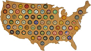 USA Beer Cap Map Cherry - Glossy Wood Bottle Cap Holder - Skyline Workshop - Fun Unique Gift