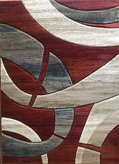 Modern Contemporary Geometric Area Rug Rust Terra Cotta Burgundy Blue & Beige Sculpture Design 248 (5 Feet 2 Inch X 7 Feet 1 Inch)
