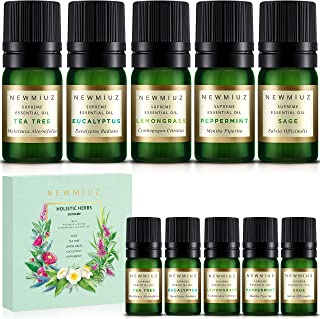 New Miuz Herbal Essential Oils USA Made Gift Set 100% Pure & Natural Undiluted Therapeutic Grade Aromatherapy & Oil Diffus...