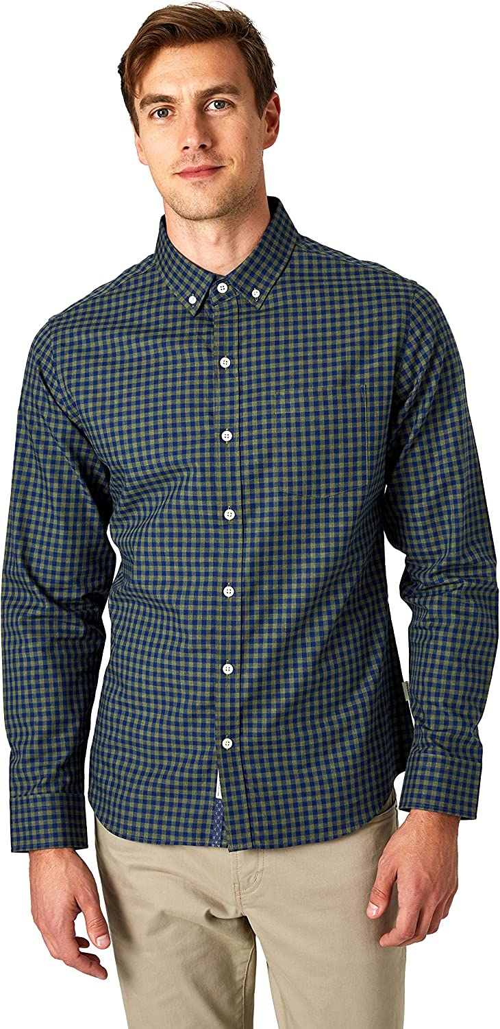 7 Diamonds This Town Long Sleeve Shirt Available in Olive with Wrinkle-Free and Breathable Fabric