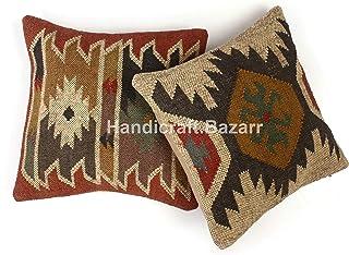 Handicraft Bazar r 2 piezas de cojines de lana de yute Kilim para decoración del hogar, para sala de estar, tejidas a mano Kelim