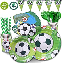 Duocute Soccer Party Supplies Sports Themed Pack Children's Birthday Party Supply Set 12 Guests/ 86 Pieces Bonus Tablecloth(Cups Forks Spoons 9
