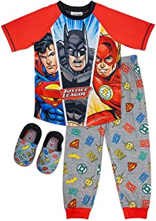 Boy's Pajama Set,Batman Superman Flash,PJ set with Matching Slippers, Sizes 4/5 to 10/12