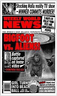 "Per Diem Printing Weekly World News Bigfoot VS Aliens 13""x22"" Vintage Style Showprint Poster - Concert Bill - Home Nostalgia Decor Wall Art Print (Special Red Edition)"