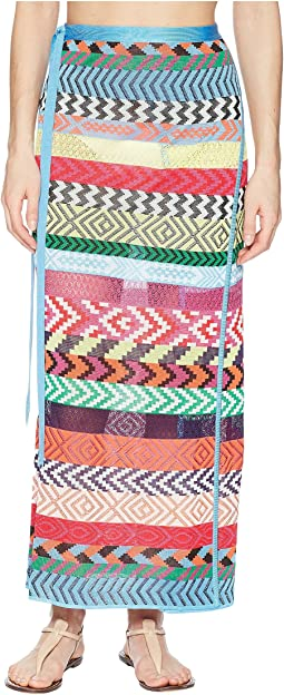 Mary Katrantzou Evaris Skirt Fira Stripe Knit Cover-Up