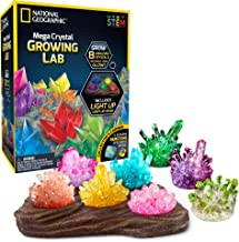 NATIONAL GEOGRAPHIC Mega Crystal Growing Lab - 8 Vibrant Colored Crystals To Grow with Light-Up Display Stand & Guidebook - Includes 5 Real Gemstone Specimens Including Amethyst & Quartz