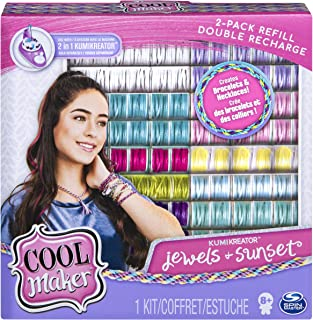Cool Maker, Kumikreator Sunset & Jewels Fashion Pack 2 Pack Refill, Friendship Bracelet & Necklace Activity Kit, Multicolor (Renewed)
