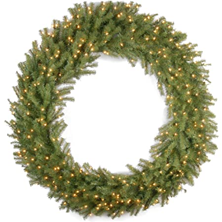 National Tree Company Pre Lit Artificial Christmas Wreath Includes Pre Strung White Lights Norwood Fir 60 Inch Home Kitchen
