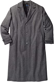 Men's Big & Tall Wool-Blend Long Overcoat Coat