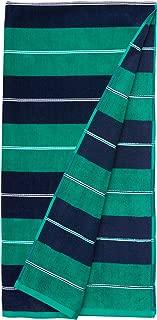 AmazonBasics Premium Beach Towels - Navy/Green Horizontal Stripes (2-Pack)