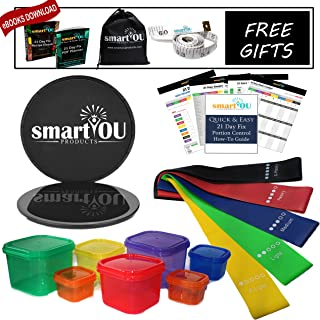 80 Day Obsession Equipment Bundle - 21 Day Fix BPA Free Portion Control Containers (7 Piece) + Resistance Bands (5) + Core Sliders (2) + Guide + Planner + Recipe eBook + Tape Measure