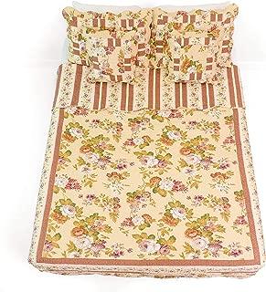 DaDa Bedding Rose Garden Cotton Quilt Set Queen Floral 3 Pieces