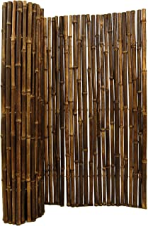 Natural Rolled Black Bamboo Fencing 1