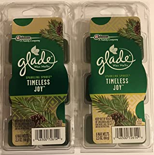 Glade Wax Melts Air Freshener - Holiday Collection 2016 - Sparkling Spruce - Timeless Joy - Net Wt. 2.3 OZ (66 g) Per Package - Pack of 2