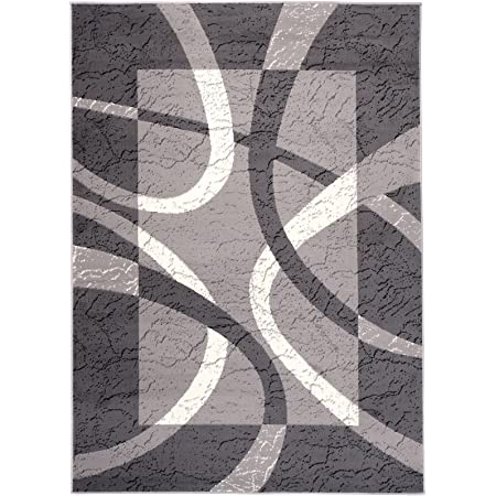 Carpeto Rugs Tapis Salon Gris 140 x 200 cm Moderne Vagues//Monaco Collection