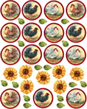 Wallies Wall Decals, Roosters and Sunflowers Stickers, Set of 22
