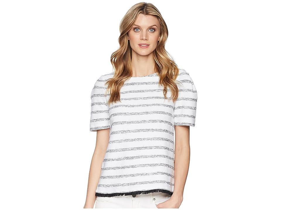 Ellen Tracy Cropped Boxy Fringe Hem Top (Loop Tweed Black-White) Women