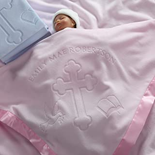Baptism/Christening Baby Blanket Gift for Girls - Personalized Cross and Bible Religious Design
