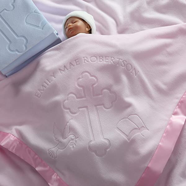 Baptism Christening Baby Blanket Gift For Girls Personalized Cross And Bible Religious Design