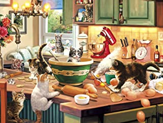 """Buffalo Games - Kitten Kitchen Capers - 750 Piece Jigsaw Puzzle, Brown,white,red,green, 24""""L X 18""""W"""