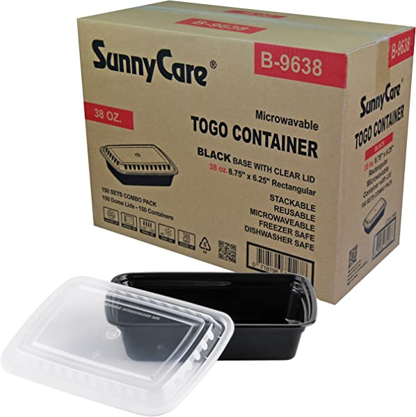 SunnyCare B9638 Black 38 Oz Rectangular Microwavable Container With Lid 150 Cs