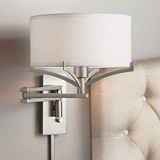 brushed nickel plug in wall sconce