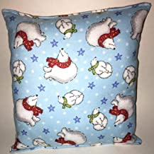 Polar Bear Pillow Coke Style Polar Bears Pillow 10 inches by 11 inches Handmade Hypoallergenic Flannel with Flannel Backing Ideal for Gift and Multiple Uses