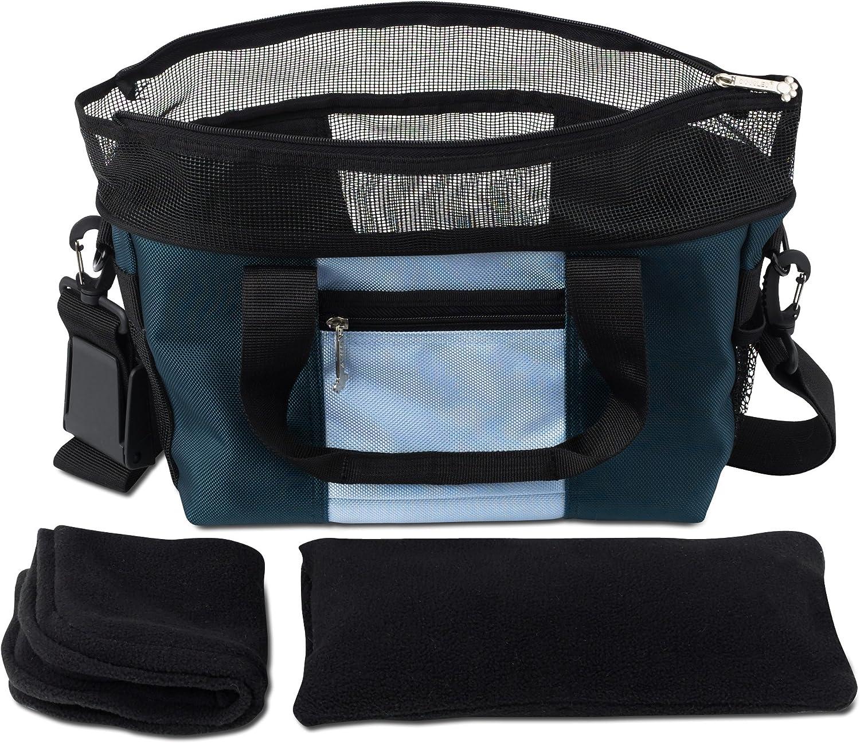 Doggles Dog Carrier Denier Messenger Bag, Large, bluee Dog Carrier