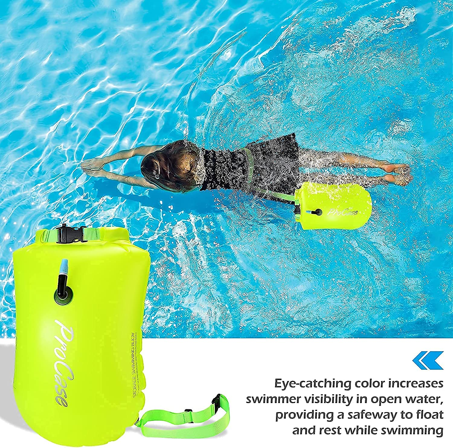 ProCase Universal Waterproof Case Cellphone Dry Bag Pouch Bundle with 28L Swim Safety Float Swim Buoy Tow Float with Waterproof Drybag