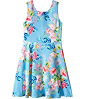 Us Angels - Printed Pique Knit Sleeveless Dress w/ Open Back & Flare Skirt (Big Kids)