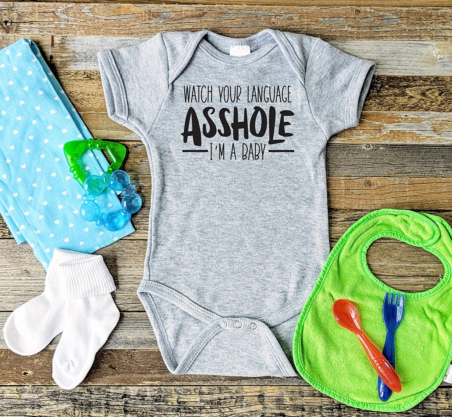 Watch 100% quality warranty Your Kansas City Mall Language Asshole I'm A Baby Onesie Funny