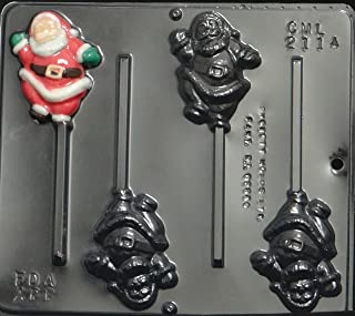 Full Santa Claus Lollipop Chocolate Candy Mold Christmas 2114