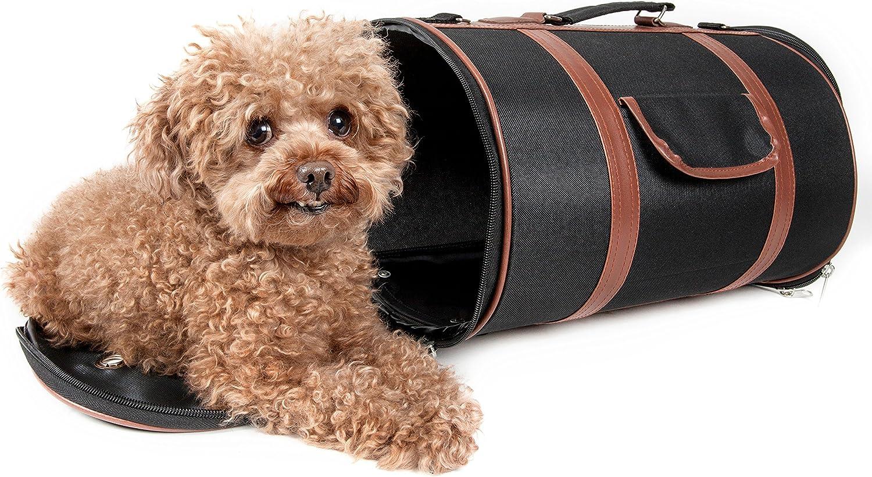 PET LIFE 'Bark Avenue' Cylindrical Airline Approved Fashion Designer Posh Pet Dog Carrier, Medium, Black and Brown