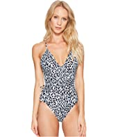 MICHAEL Michael Kors - Thora Leopard Wrap Shirred Neck One-Piece