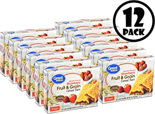 (12 Pack) Great Value Fruit & Grain Cereal Bars, Strawberry, 10.4 oz, 8 Count