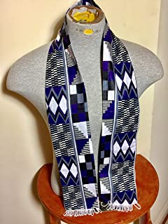 African Kente Cloth print Scarf Stole Blue With White Tassels