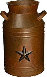 Craft Outlet Milk Can Container with Star, 13.75-Inch, Rust