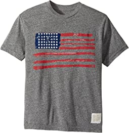 The Original Retro Brand Kids - American Flag Short Sleeve Tri-Blend Crew Tee (Big Kids)