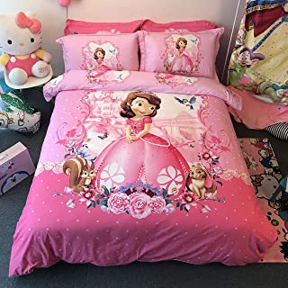 Casa 100% Cotton Kids Bedding Set Girls Sofia The First Princess Duvet Cover and Pillow case and Fitted Sheet,3 Pieces,Twin