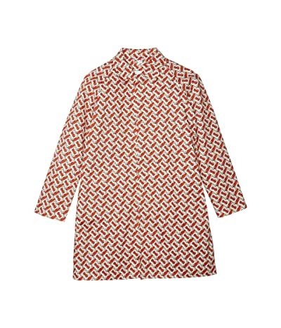 Burberry Kids Monogram Car Coat (Big Kids) (Vermillion Red IP Print) Girl