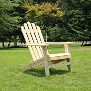 Azbro SongSen Outdoor Wooden Fashion Adirondack Chair/Muskoka Chairs Patio Deck Garden Furniture,Natural