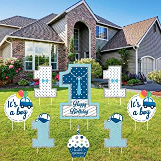 Teblacker 8 Pack Happy Birthday Yard Sign with Stakes Boy Girl Baby Shower Yard Signs Happy Birthday Lawn Decorations Outd...
