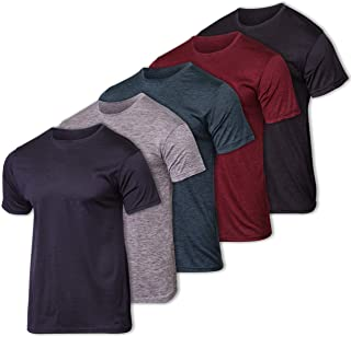 Real Essentials Men's Dry Fit Solid Crew Neck Short Sleeve Active T-Shirt - 5 Pack