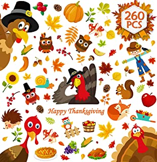 260PCS Thanksgiving Window Clings Turkey Decorations Fall Decor - Autumn Party Supplies Maple Leaves/Pumpkin/Corn/Solgo/Ow...