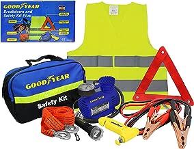 Kit de seguridad Goodyear para el coche para emergencias. El kit incluye: chaleco/babero de alta visibilidad, cuerda de remolque, pinzas, linterna LED, compresor de aire, alerta TR, 8 piezas.