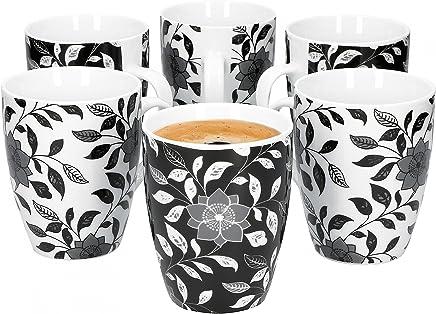 Preisvergleich für Van Well Porzellan 6er Geschirr-Set Serie Flowers Schwarz & Weiß | weißes & schwarzes Blumendekor | Artikel wählbar, Serie Flowers:Jumbobecher 350ml