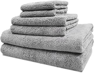 Polyte Luxury Quick Dry Lint Free Microfiber Bath Towel Set, 6 Piece (Gray)