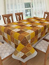 Clasiko 6 Seater PVC Table Cover; Mustard Checks; Anti Slip; 60x90 Inches; 6 Seater