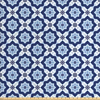 Lunarable Ethnic Fabric by The Yard, Traditional Medieval Portuguese Azulejo Tiles Pattern with Stars, Decorative Fabric for Upholstery and Home Accents, 1 Yard, Pale Blue